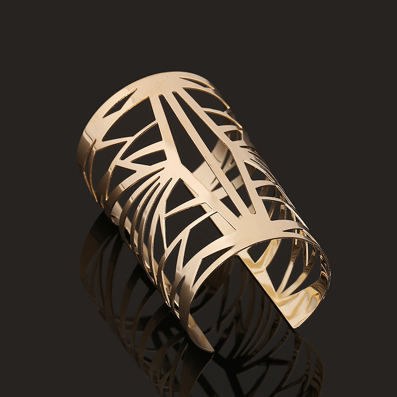 Hollow Design Big Statement Hollow Bangle Jewelry Fashion Alloy Open Cuff Bangle Bracelet For Women Wrap Hand Bijoux