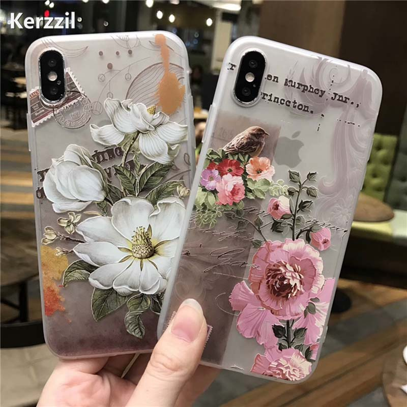Kerzzil 3D Relief Peach Lace Roses Flowers Phone Case For iPhone 7 6 6S Plus Soft TPU Back Cover Cases For iPhone X 6 6S 8 Plus