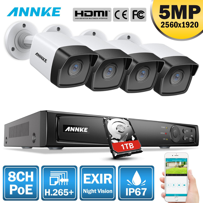 ANNKE, sistema de vídeo de red H.265 + Super HD PoE de 5MP, sistema de seguridad 4 uds, cámara IP impermeable para exteriores, Kit POE Plug & Play Cámara PoE Cámara de Video CCTV de 8MP y 5 pulgadas ahd ip, probador de cámara de vídeo mini ahd con soporte de monitor VGA 4 en 1 HDMI, entrada UTP, prueba de Cable