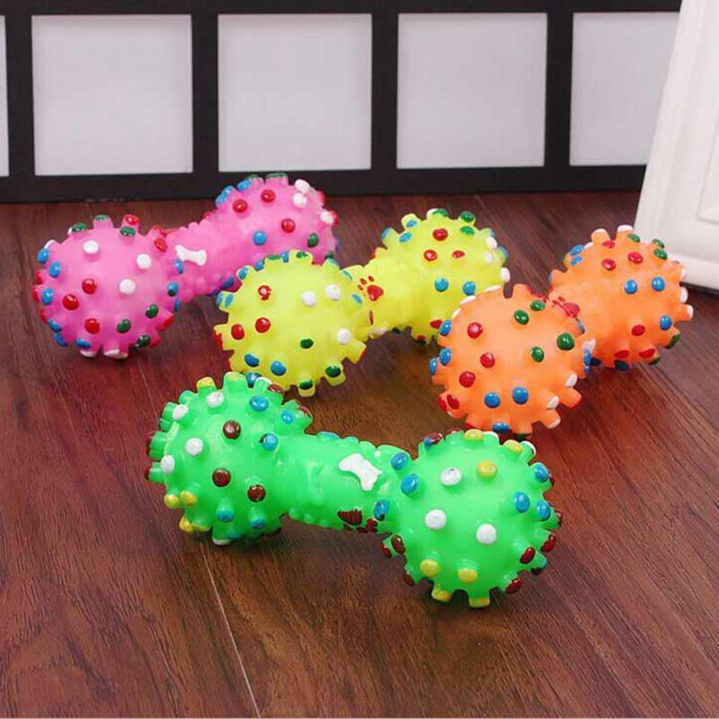 1 pièces coloré pointillé os en forme de compression couineur pour jouets Pet chien jouet Faux os caoutchouc jouets pour animaux chiens à mâcher jouet-in Jouets pour chien from Maison & Animalerie    1