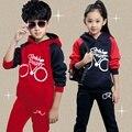 Nuevos niños Niñas Ropa de Otoño Juego de Los Niños Camisas de Manga Larga Moda Abrigos Pantalones Para Niños de Regalo de Navidad Ropa de Vestir