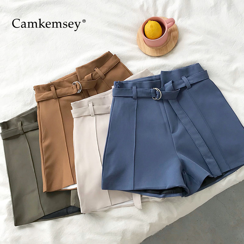 CamKemsey 2019 Korean Summer Suit   Shorts   Women Fashion Solid Brief Design Lady Work Office Casual High Waist Wide Leg   Shorts