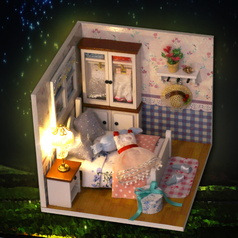 Doll House Furniture Warm Whispers Dust Cover Voice control Light Wooden Handmade Dollhouse Toys for Children DIY Home Toy Girls in Doll Houses from Toys Hobbies