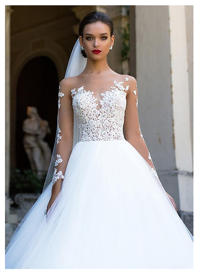 SoDigne Long Sleeves Wedding Dress 2019 Beach Bridal Gown Tulle Lace Appliques White/Ivory Romantic Buttons Wedding Dresses