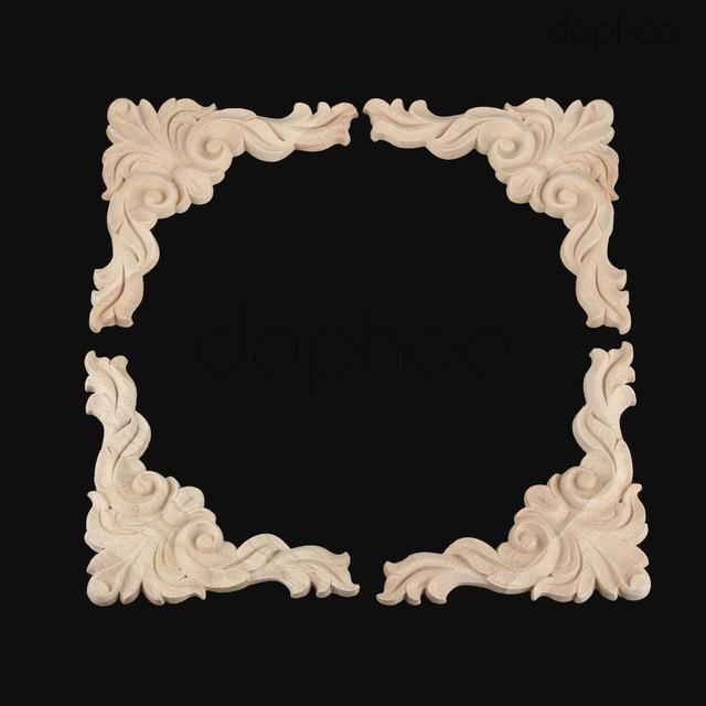 Dophee 4pcs 13cm Vintage Wood Carved Corner Decals Onlay Lique For Furniture Walls Doors Cabinets Home