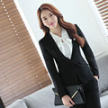Novelty Black Professional Formal Uniform Design Female Pantsuits With Jackets And Pants Autumn Winter Business Trousers Set