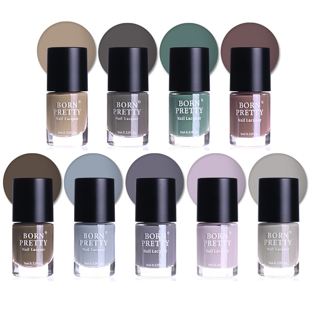BORN PRETTY 9ml 9 Bottles Matte Dull Nail Polish Set Grey Pink Green ...