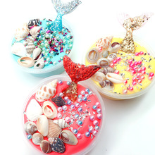 Mermaid Slimes Cotton Mud Slme Crystal Mud Shell Conch Ocean World Puff Plastic Press Toys Putty Charms for Slime Toys Sand Glue