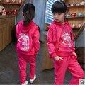 Детская одежда осень девушки костюм 2015 новых детей с длинными рукавами спортивные повседневные наборы большие девочки мультфильм принцесса весна 3 шт.