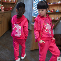 Children S Clothing Autumn Girls Suit 2015 New Kids Long Sleeve Sports Casual Sets Big Girls
