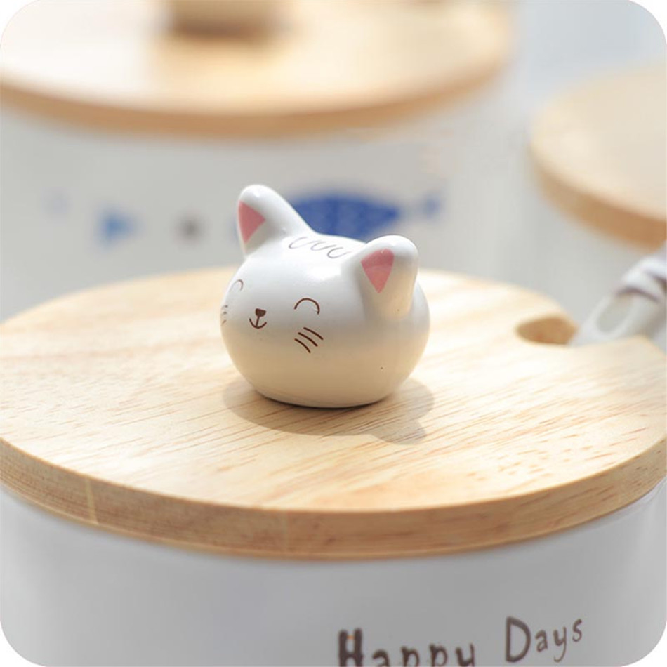 Cartoon Cute 3D Cat Fish Mugs Cup Set Creative Milk Tea Drink Breakfast Ceramic Cups Plates Coffee Cup Wooden Lid + Spoon Gift (14)