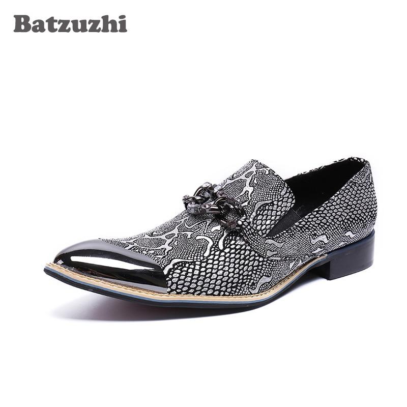 Здесь можно купить  Batzuzhi Italy Style Fashion Men Shoes Silver Metal Cap Leather Dress Shoes Erkek Ayakkabi Business Party Zapatos Hombre, US12  Обувь