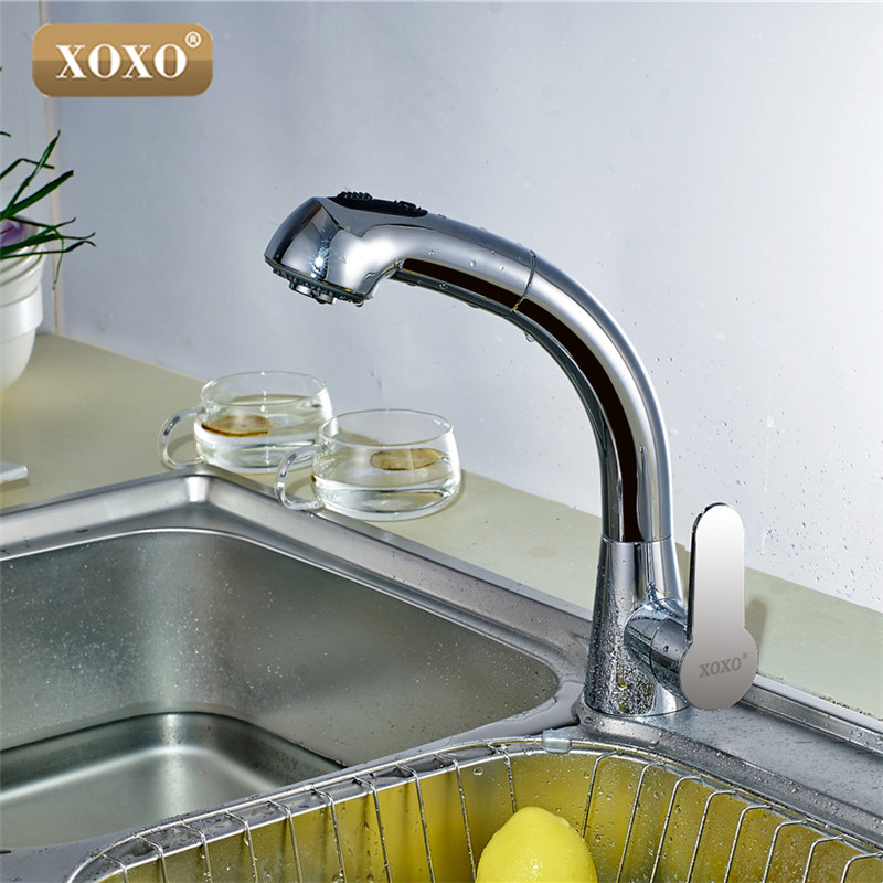 XOXO Free Shipping Brass cold and hot Water Mixer Kitchen Faucet head Pull out chrome mixer  360 Degree Rotation Sink Tap 1251-in Kitchen Faucets from Home Improvement    2
