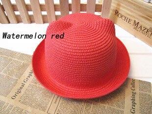 [DINGDNSHOW], модная соломенная шляпа, Летний стиль, для взрослых, украшение в виде ушей, прекрасная соломенная шляпа от солнца, одноцветная широкополая Панама для женщин - Цвет: water red adult