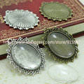 Sweet Bell  (10 set/lot) two color filigree cameo cabochon 18*25mm base setting pendant tray + clear glass cabochons D0111