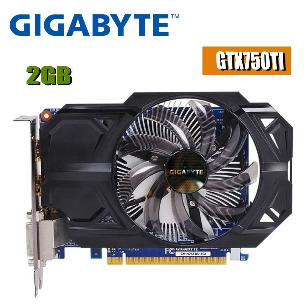 Carte graphique GIGABYTE GTX 750 ti 2 GB 128Bit GDDR5 cartes vidéo pour nVIDIA Geforce GTX 750Ti 2 GB Hdmi Dvi utilisé VGA gtx750ti