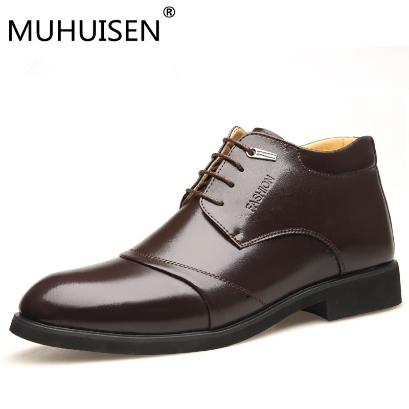 MUHUISEN/модный бренд Мужская обувь зимние теплые мягкие кожаные мужские ботильоны на шнуровке толстые плюшевые ботинки челси размеры 38–44