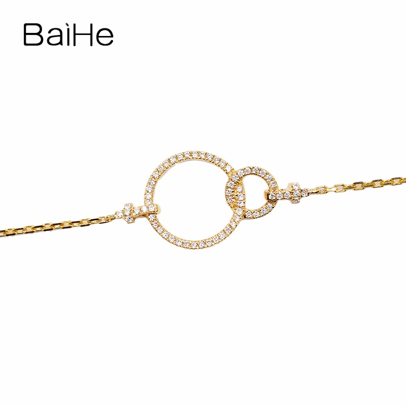 BAIHE Solid 18K Yellow Gold(AU750) 0.14ct H/SI Round Full CUT 100% Genuine Natural Diamonds Wedding Trendy Jewelry Gift Bracelet baihe solid 18k yellow gold au750 engagement