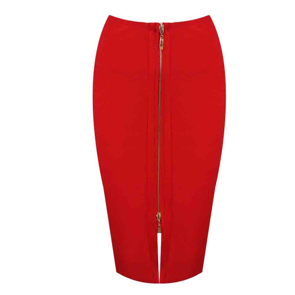KLEEZY new arrival 2020 pencil skirt New Bandage Skirt Women Knee-Length zipper black Skirts H2383