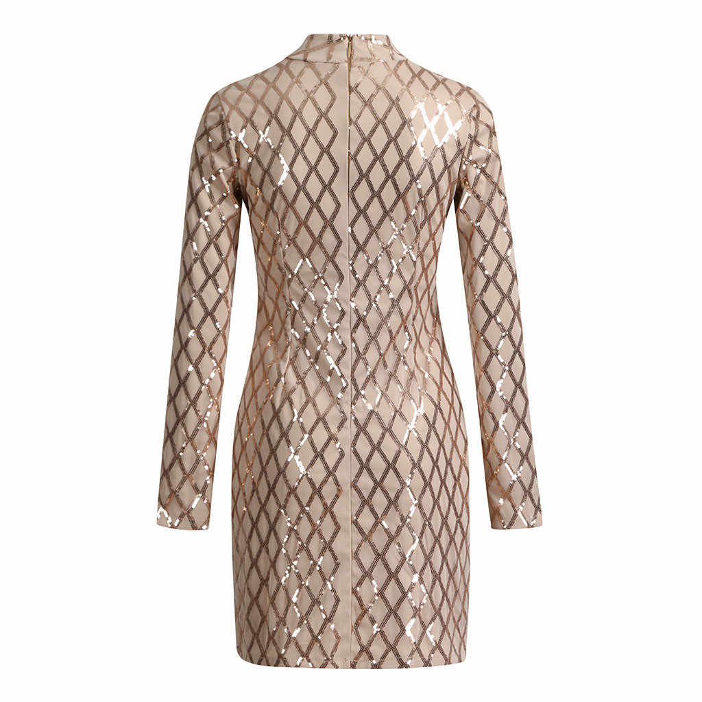 Moda Kadın Elbiseler seksi pullu Balıkçı Yaka Slim Fit Bayan Uzun Kollu Everying Parti Mini Elbise Rahat Artı Boyutu Bayanlar Elbiseler