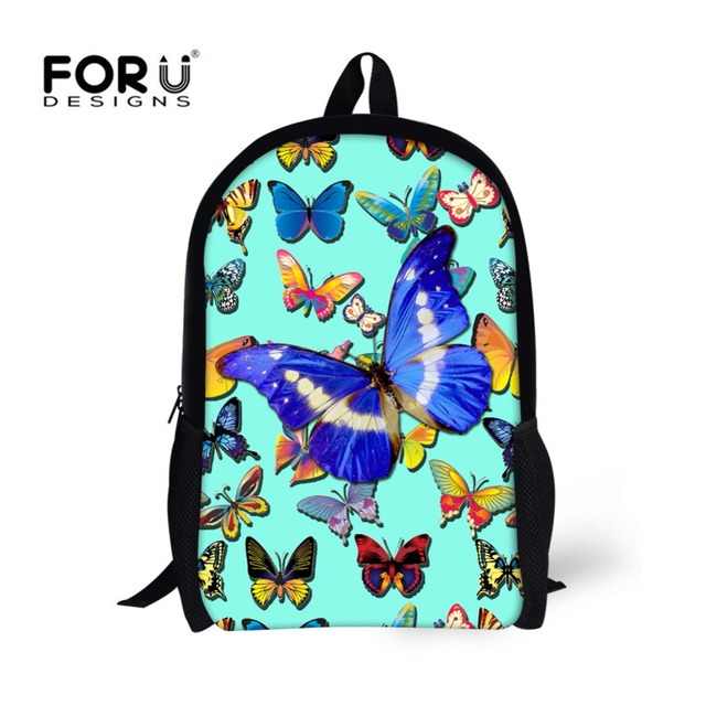FORUDESIGNS Children School Bags for Teenagers Girls Cute 3D Butterfly  Printing Kids Book Bags Student Backpack Satchel Mochilas 9865ed6d05c7d