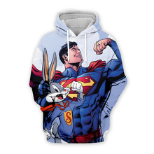 Women Men Cartoon 3d hoodies Sweatshirt Bugs Bunny and iron man Captain America marvel superhero print casual Pullover plus size