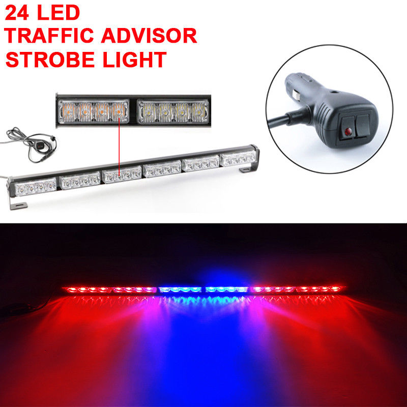 CYAN SOIL BAY 27 24 LED Emergency Warning Traffic Advisor Flashing Strobe Light Bar Red Blue 12V Flash Lamp 24W