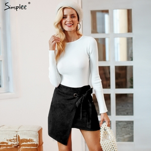 Image 5 - Simplee Asymmetrical split women skirts Elegant lace up bow tie ladies suede short mini skirts Solid black autumn female skirts