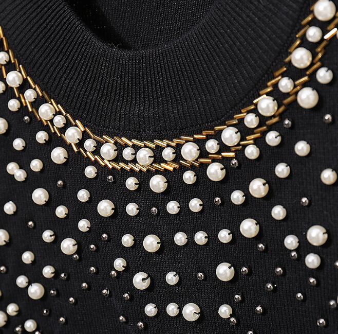 Ensembles Mode Automne Tops Nouvelles En Costume Tricoté Trouse Chandail Femelle Hiver Tricot Noir 2018 Pantalon Deux Perles Femmes De Pièces Occasionnel wfz0wq