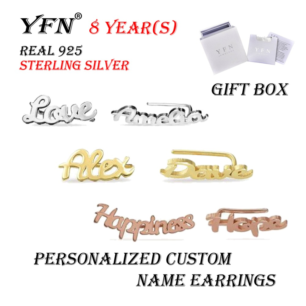 YFN Brand Sterling Silver Custom Personalized Name Stud Earrings For Women Girl With Gift Box 3 Color