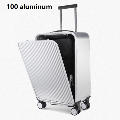 100 pure Aluminum Alloy pull rod suitcase 20 24 inch metal luggage new type of opening