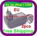 Frete Grátis EU plug 5 v 3000mA usb carregador adaptador de alimentação 3A tablet pc usb carregador de parede