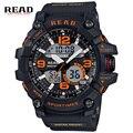 Read marca relógios de pulso para homens round dial digital de grande escala fivela cinta de volta luz de alarme horas cronômetro silicone relogio