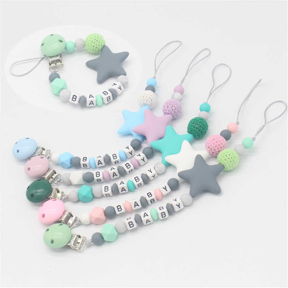 DIY Silicone Baby Pacifier Clip Colorful Cartoon Pacifier Chain Five Star for Baby Teething Soother Chew Toy Dummy Clips