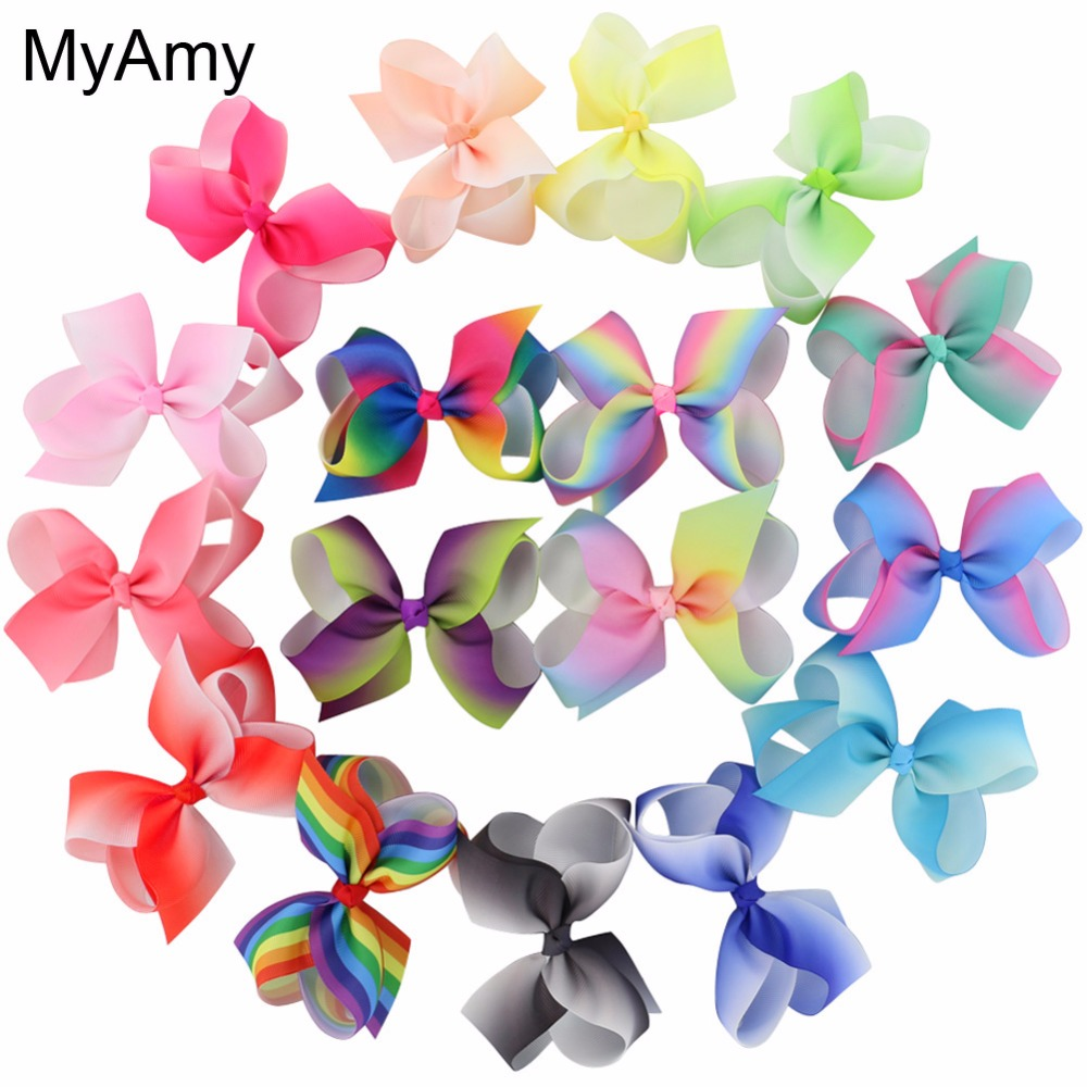 MyAmy 17pcs/lot 4.5'' grosgrain ribbon hair bows WITH alligator hair clips boutique rainbows bow girls hairbow for teens kids 10pcs lot high quality hair band with grosgrain ribbon flower for girls handmade flower hairbow hairband kids hair accessories
