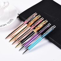 50pcs /lot Luxury Ballpoint Flow Oil Crystal Foil Metal Pen Cute Stationary Novelty pens for writing School Office 12 colors