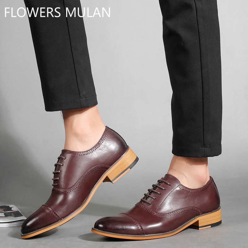 2018 New Spring Style Gentleman Leather Upper Men Shoes Lace Up Soft Rubber Heel Business Footwear Male Wedding Shoes Cool Boy