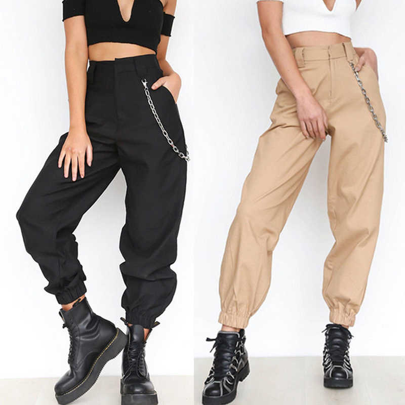 e4542c156eb Women s High Waist Casual Elastic Long Trousers Baggy Casual Loose Solid Cool  Streetwear Cargo Pants Autumn