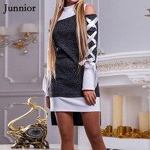 Dress Female Bandage Slim Short Dress Long Sleeve Autumn And Spring Mini Dress Irregular Hem Sexy Fashion Off The Shoulder Dress недорого