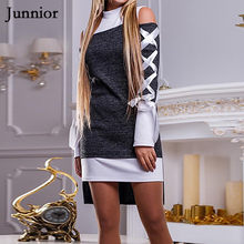 Dress Female Bandage Slim Short Dress Long Sleeve Autumn And Spring Mini Dress Irregular Hem Sexy Fashion Off The Shoulder Dress(China)