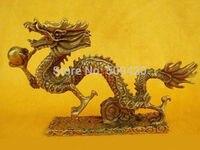 fast ShippingChinese Bronze Brass Dragon Figurine Statue Long 13cm