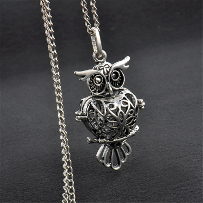 iMucci necklace fashion owl hollow cage aromatherapy essential oil diffuser pendant