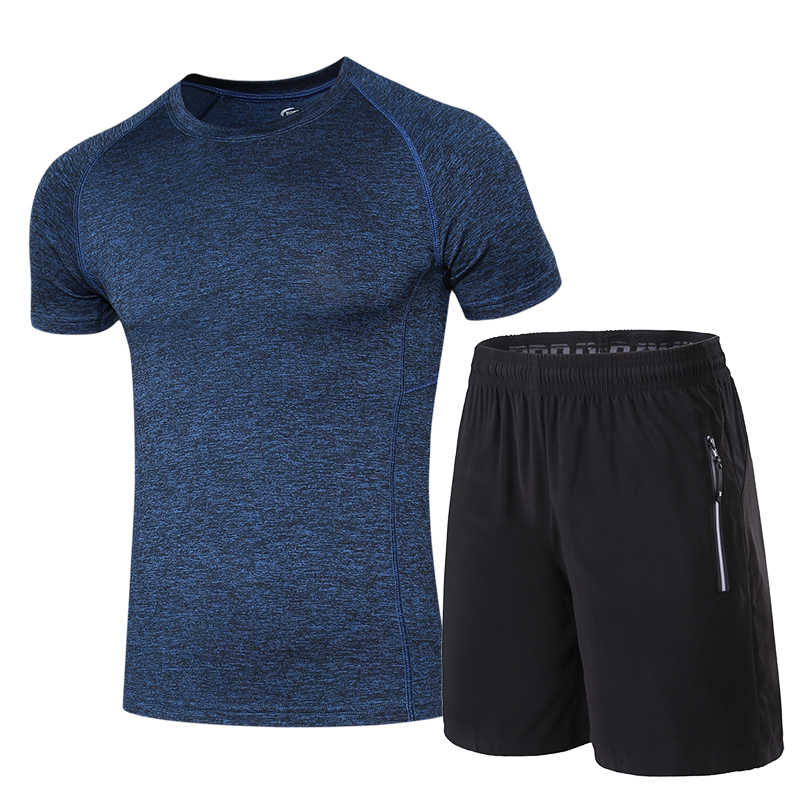 Chándal de deporte Flexible profesional de verano para hombre, ajustado, de secado rápido, de manga corta, ropa deportiva, para gimnasio, para correr, traje para hombre