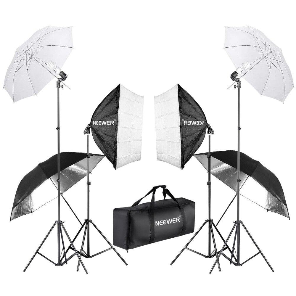 Neewer 800 w Photographie Softbox et Parapluie Éclairage Kit 24 pouces Softbox Blanc Parapluie et Ampoule 88 pouces Lumière Stand