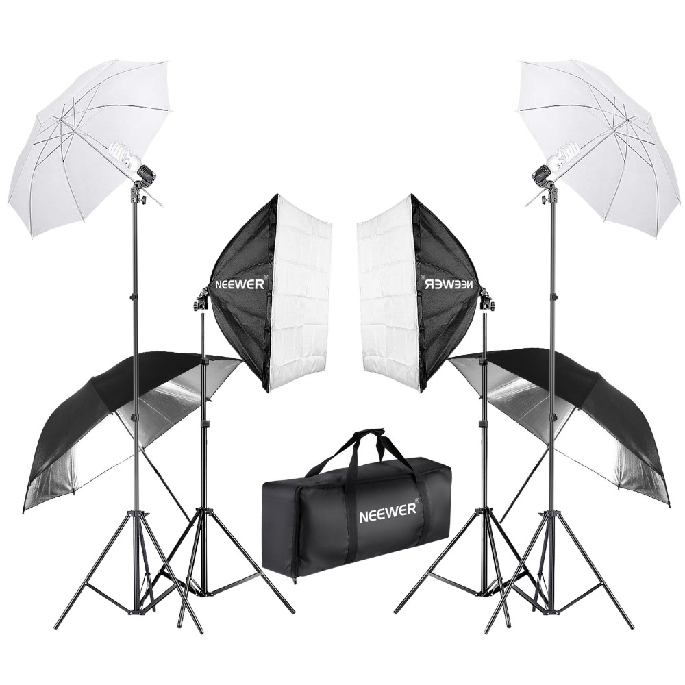 купить Neewer 800W Photography Softbox and Umbrella Lighting Kit 24 inches Softbox White Umbrella and Bulb 88 inches Light Stand