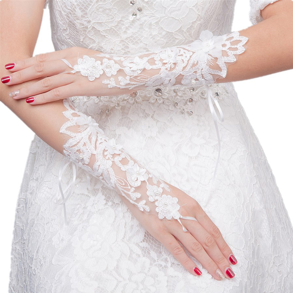 1 Pair Bride Lace Gloves Flower Bandage Wedding Gloves Hollow Out Fingerless Bride Gloves For Bride Wedding Accessories