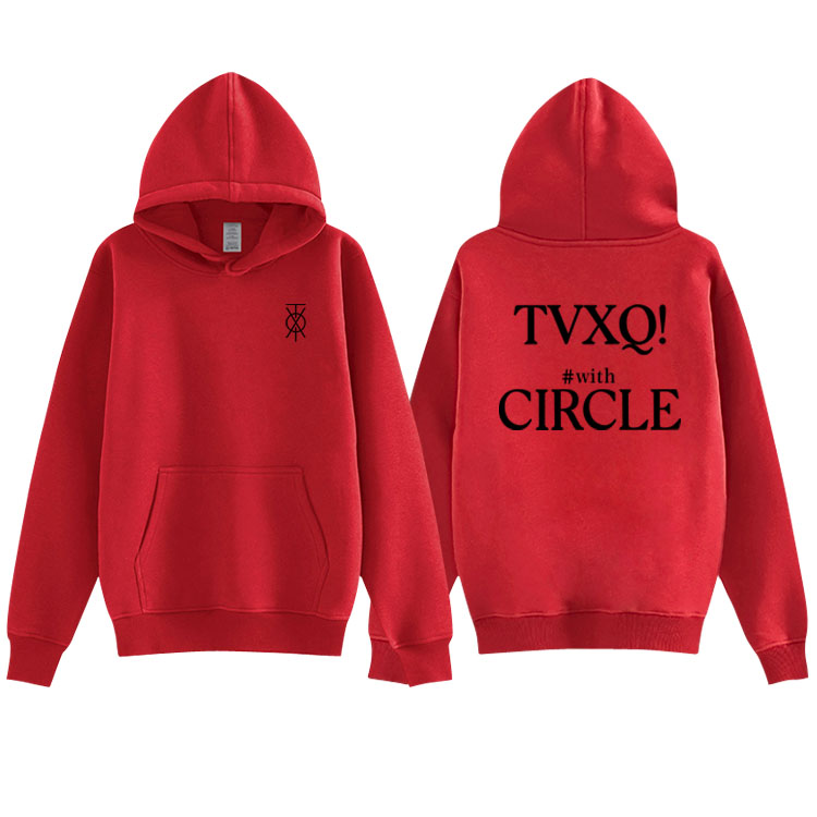 Kpop Tvxq Concert With Circle Same Printing Pullover Hoodies Unisex Fashion Autumn Winter Fleece/thin Loose Sweatshirt