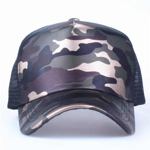 Xthree 5 panels summer baseball cap mesh cap faux leather Camouflage snapback hat men hip hop casquettes hats for women bone 1