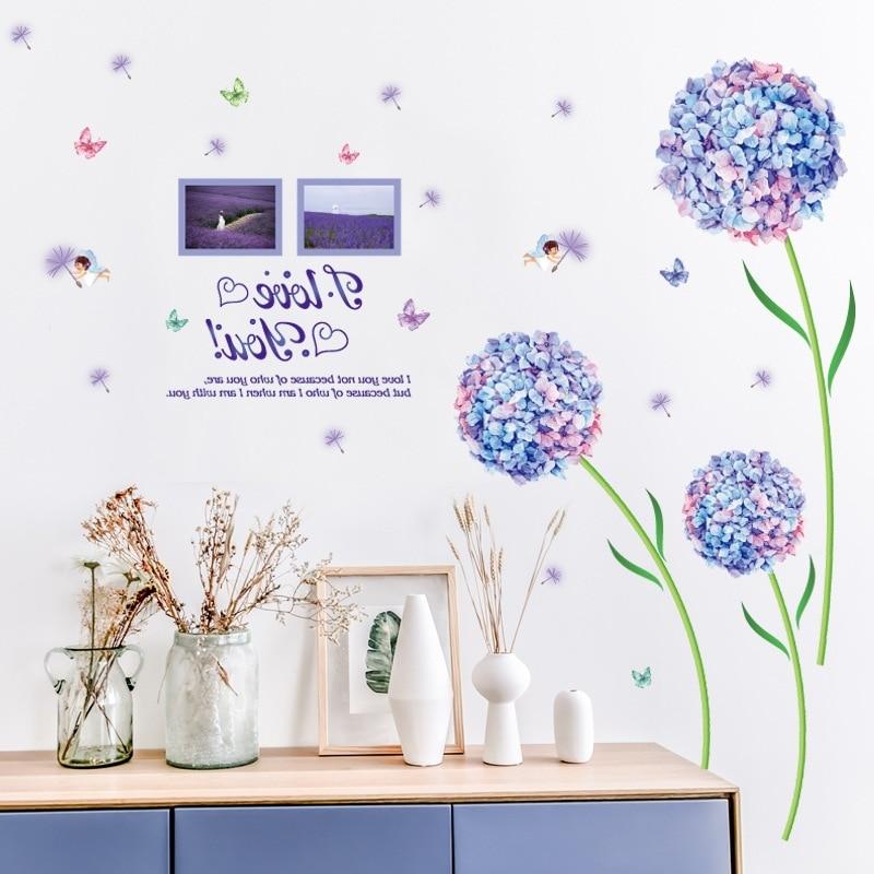 Bleu Fleur Boule De Grande Taille Pissenlit Wall Sticker Salon Entrée Chambre TV Mur Décor À La Maison Autocollants Muraux