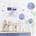 Blue Flower Ball Large Size Dandelion Wall Sticker Living Room Entrance Bedroom TV Wall Home Decor Stickers Muraux